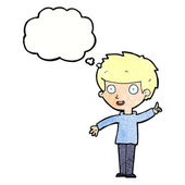 Cartoon boy with idea — Stock Vector