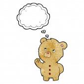 Cartoon waving teddy bear with thought bubble — Stock Vector