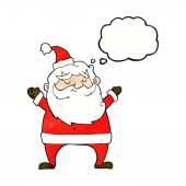 Jolly santa cartoon with thought bubble — Stock Vector