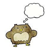 Cartoon suspicious owl with thought bubble — Vetor de Stock