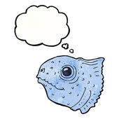 Cartoon fish head with thought bubble — Stock Vector
