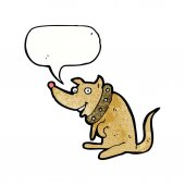 Cartoon happy dog in big collar with speech bubble — Stock Vector