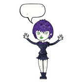 Cartoon vampire girl with speech bubble — Stock Vector
