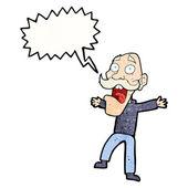 Cartoon shocked old man with speech bubble — Stock Vector