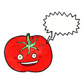 Cartoon tomato with speech bubble — Stock Vector
