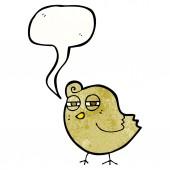 Funny cartoon bird with speech bubble — Stock Vector