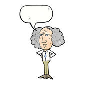 Cartoon big hair lecturer man with speech bubble — Stock Vector