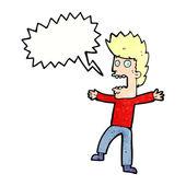 Desenhos animados homem aterrorizado com bolha do discurso — Vetor de Stock