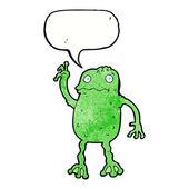 スピーチの泡と漫画カエル — ストックベクタ