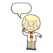 Cartoon newsreader man with idea with speech bubble — Stock Vector