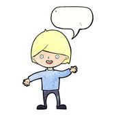 Cartoon waving boy with speech bubble — Stock Vector