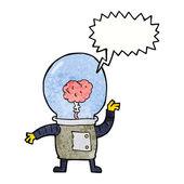 Kreskówka robota cyborga z dymek — Wektor stockowy