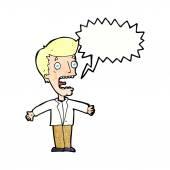 Cartoon screaming man with speech bubble — Vetor de Stock