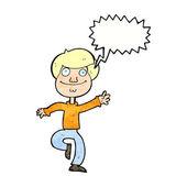 Cartoon dansar man med pratbubblan — Stockvektor