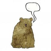 Cartoon funny bear with speech bubble — Stock Vector