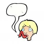 Cartoon head sticking out tongue with speech bubble — Stock Vector