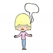 Mujer de dibujos animados encogiéndose de hombros con burbujas de discurso — Vector de stock