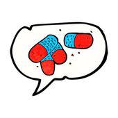 Cartoon painkillers with speech bubble — Stock Vector