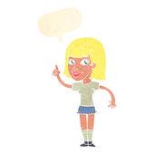 Cartoon pretty girl with idea with speech bubble — Stock Vector
