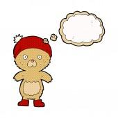 Cartoon cute teddy bear with thought bubble — Stock Vector