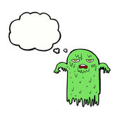 Cartoon slimy ghost with thought bubble — Stock Vector