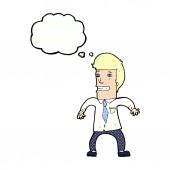 Homem de negócios nervoso dos desenhos animados com balão de pensamento — Vetor de Stock