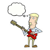 Cartoon man playing electric guitar with thought bubble — Stock Vector