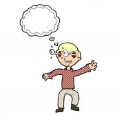 Cartoon amazed boy with thought bubble — Stock Vector