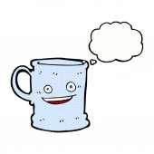 Cartoon mug with thought bubble — ストックベクタ
