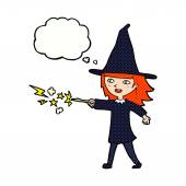 Cartoon witch girl casting spell with thought bubble — Stock Vector