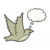 Cartoon flying bird with thought bubble — Vecteur