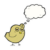 Funny cartoon bird with thought bubble — Stockvector