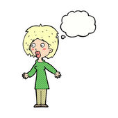 Cartoon surprised woman with thought bubble — Vector de stock