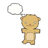Cartoon teddy bear with thought bubble — Stock Vector