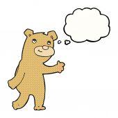 Cartoon happy waving bear with thought bubble — Stock Vector