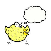 Cartoon happy bird with thought bubble — 图库矢量图片