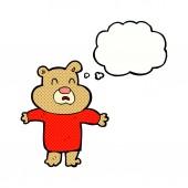 Cartoon unhappy bear  with thought bubble — Stock Vector