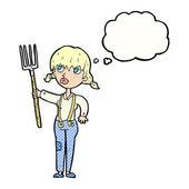 Cartoon farmer girl with thought bubble — Vector de stock