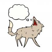 Cartoon snapping wolf with thought bubble — Stock Vector