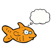 Cartoon happy goldfish with thought bubble — Stock Vector