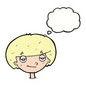 Cartoon smug looking boy with thought bubble — Stock Vector