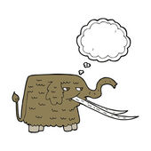 Cartoon woolly mammoth with thought bubble — Stock Vector