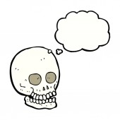 Cartoon skull with thought bubble — Stock Vector