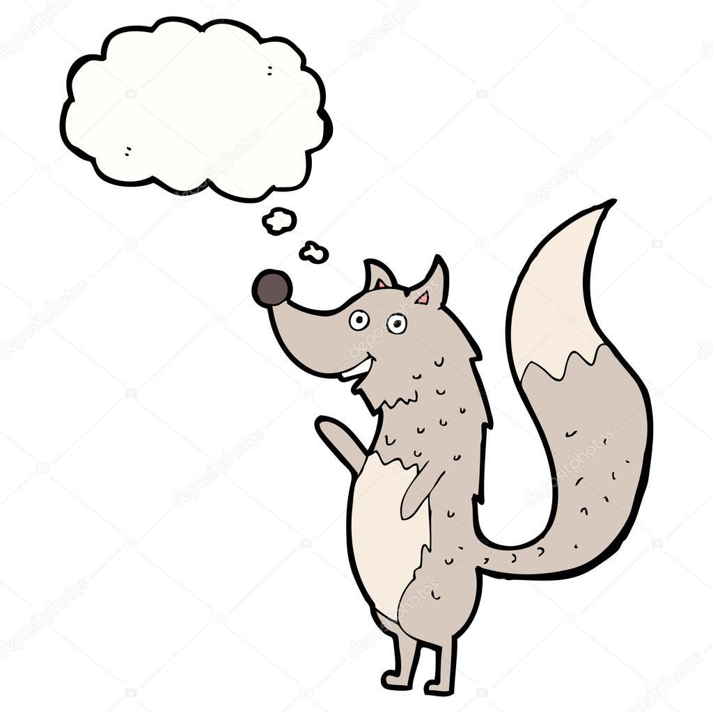 卡通挥舞着大灰狼与思想泡泡