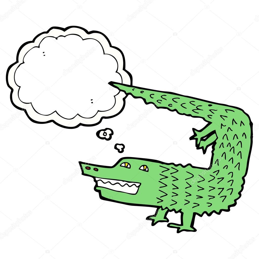 卡通鳄鱼与思想泡泡 — 图库矢量图像08 lineartest