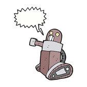 Cartoon tank robot with speech bubble — Stock Vector
