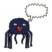 Cartoon spider with speech bubble — Vector de stock
