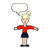 Cartoon woman shrugging shoulders with speech bubble — Stock Vector