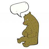 Cartoon happy bear with speech bubble — Stock Vector