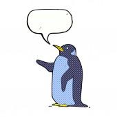 Pingüino de dibujos animados con la burbuja del discurso — Vector de stock